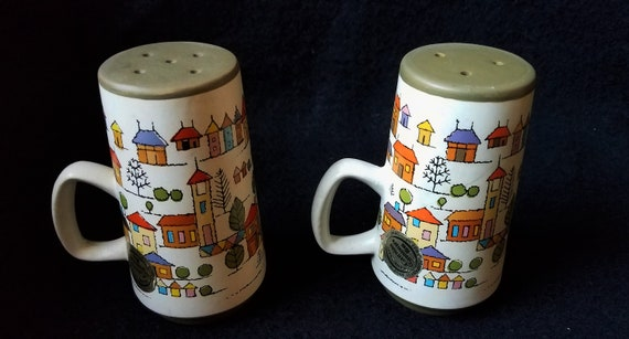 1970s Stoneware Salt and Pepper Shakers