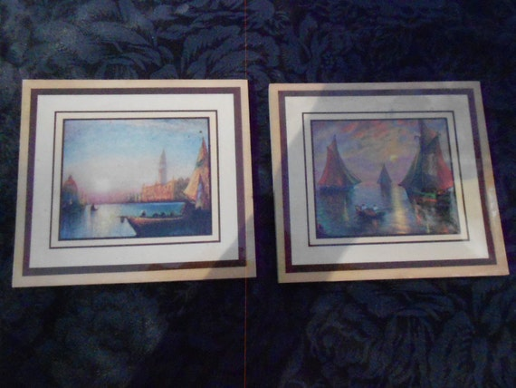 Wooden Wall Decor Sunset and Boats Pictures