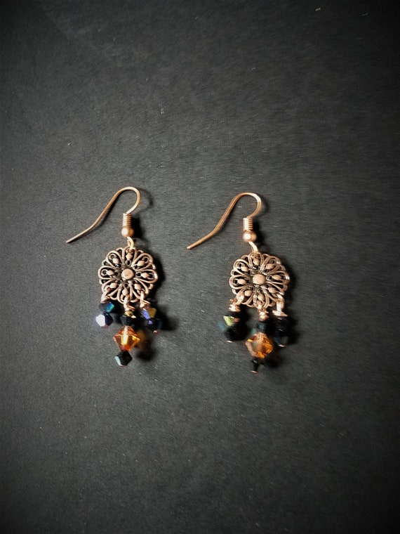Copper Earrings with Blue and Amber Crystals