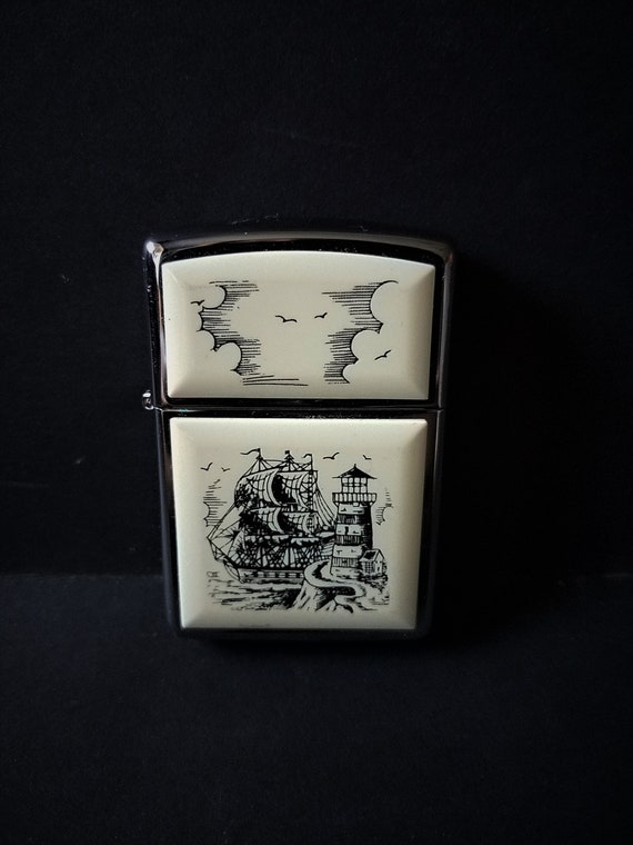 Faux Ivory Scrimshaw Zippo Lighter