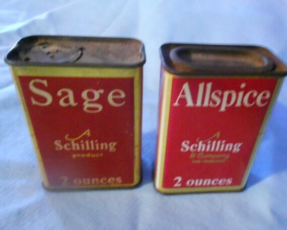 Vintage Schilling Spice Cans