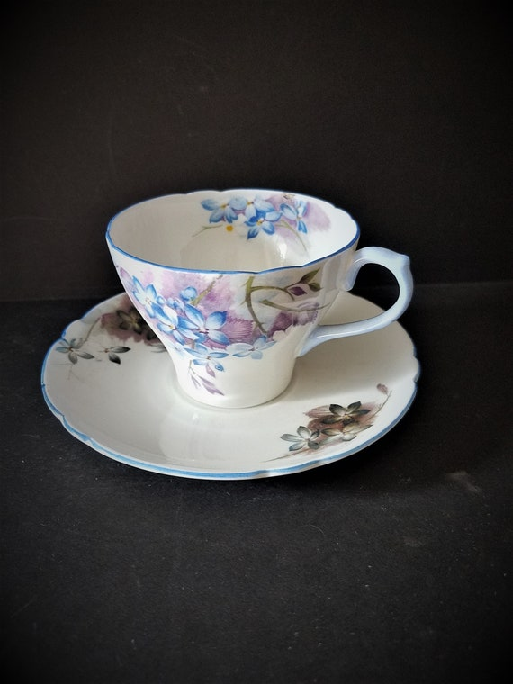 "1950s Shelley England ""Blue Spray"" Cup and Saucer"