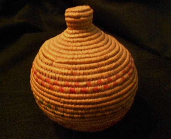 1960s Yupik Indian Grass Basket Alaska