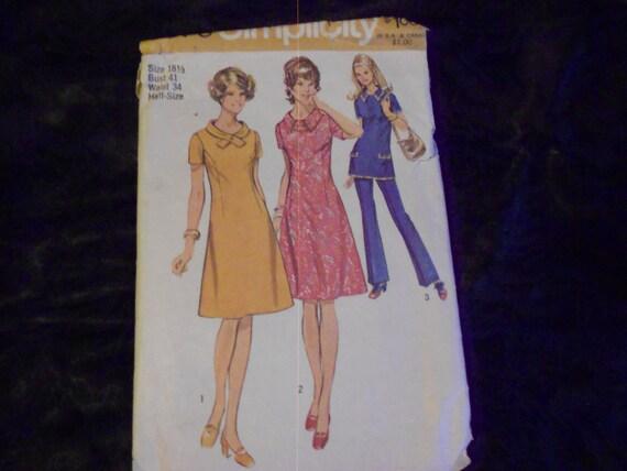 1971 Simplicity Pattern 9579 Dress/Tunic size 18 1/2