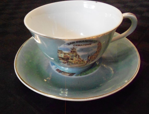 Lithopane Lusterware San Francisco Souvenir Cup and Saucer