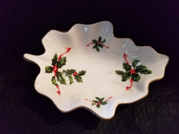 Lefton Boughs of Holly Vintage  Christmas Candy Dish