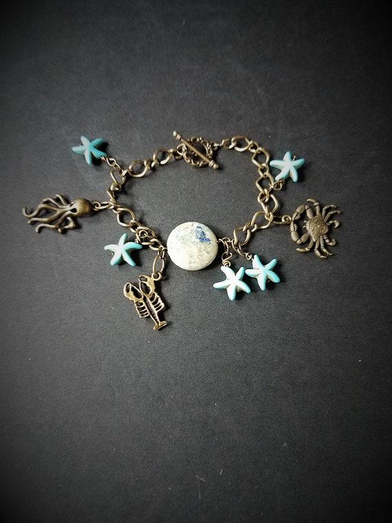 Bracelet/ Brass & Turquoise/ Sea Life