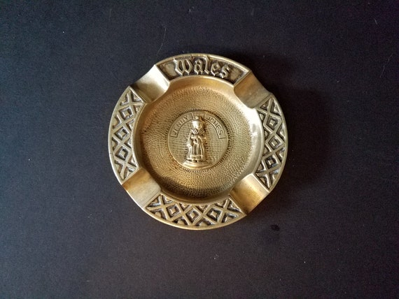 Jenny Jones Brass Ashtray Wales Souvenir