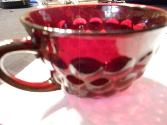 Ruby Red Bubble Glass Cup