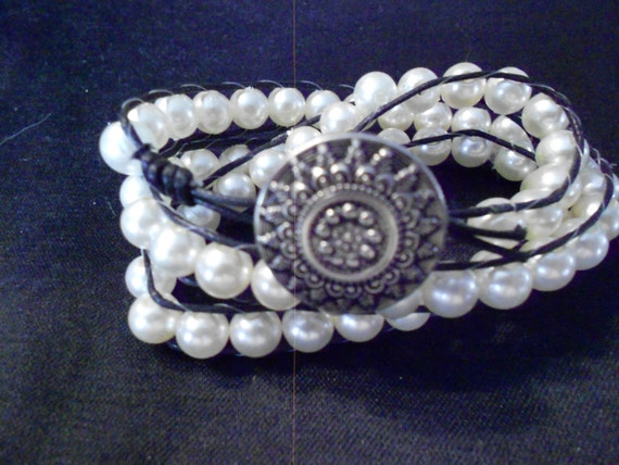 Wrap Bracelet/ Pearls and Leather