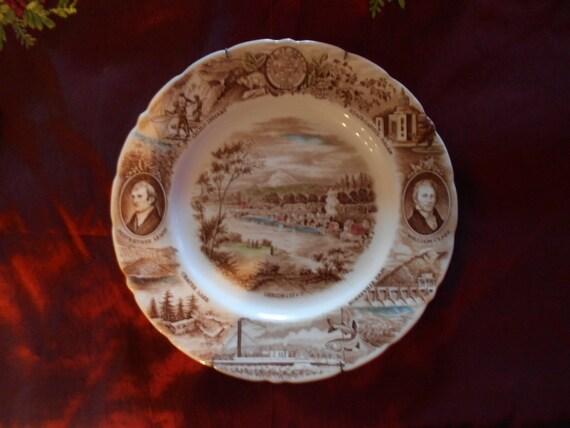 Transferware/Johnson Brothers Meir & Frank/ Souvenir Plate/Oregon