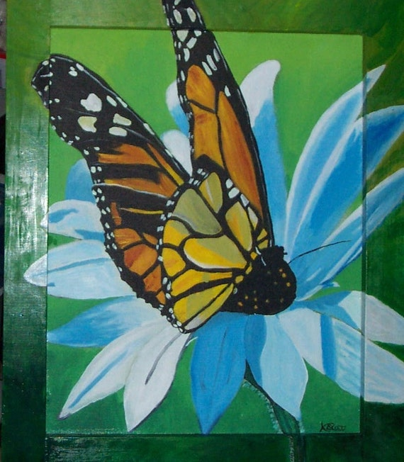 Painting/Butterfly Landed/Acrylic/OOAK