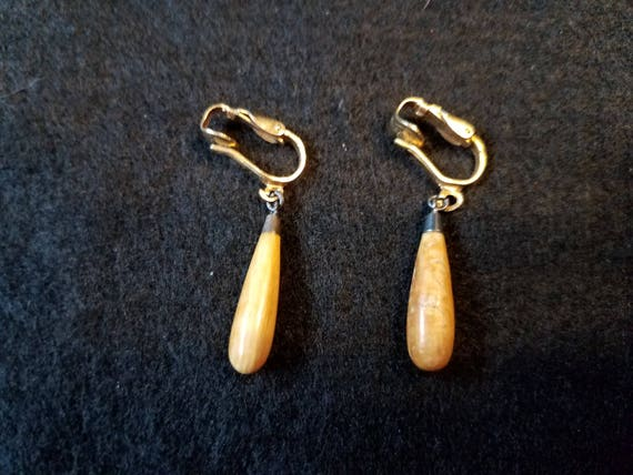 Petrified Wood Vintage Earrings