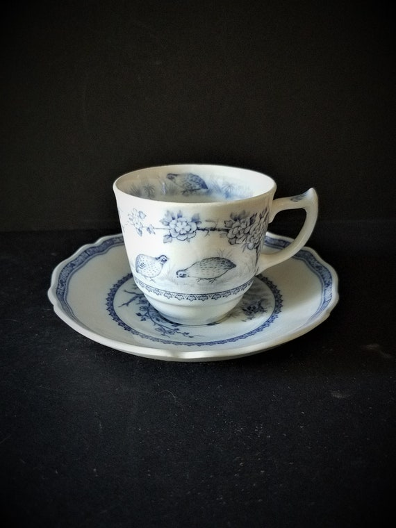 Furnivals Blue Quail Demitasse Cup and Saucer