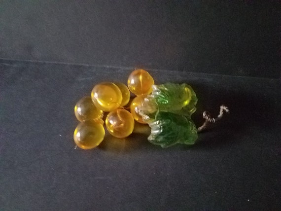 Miniature Retro Lucite Gold Grapes