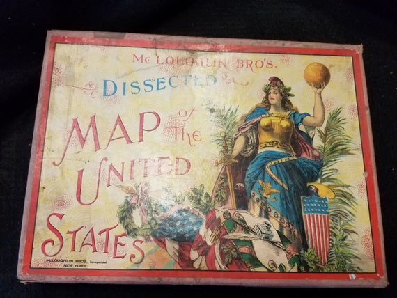 1885 McLoughlin Dissected Map of US