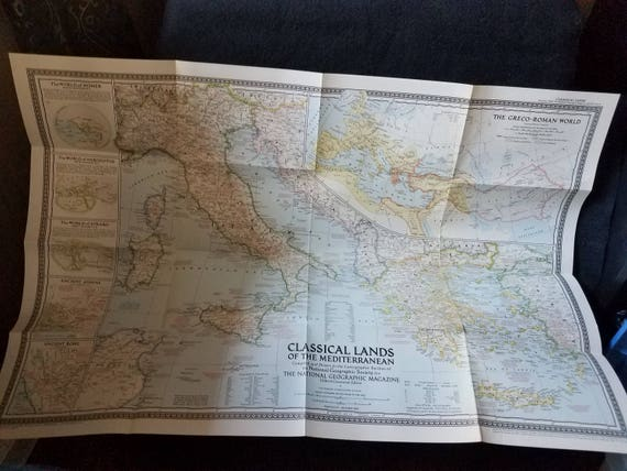 1949 Map Classical Lands of the Mediterranean