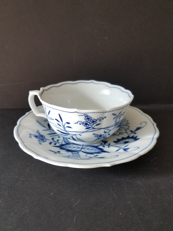Antique German Blue and White Tea Cup and Saucer