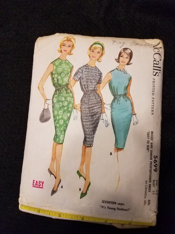 McCalls/Pattern/5699/1960/Dresses