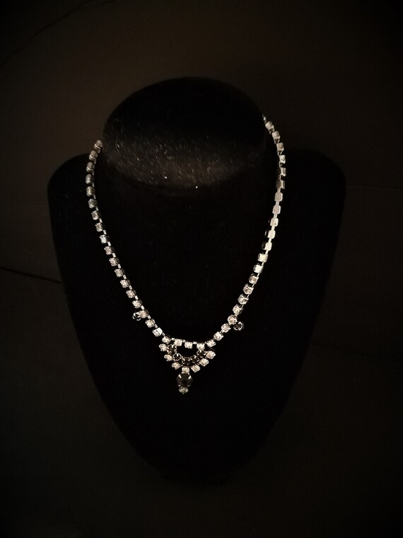 Rhinestone and Black Cup Chain Vintage Necklace