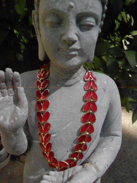 Necklace/ Gold tone/Red Enamel/Moth Shaped Design