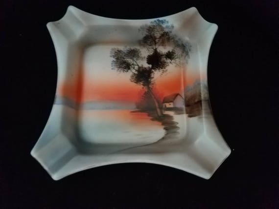 Morimura Noritake Sunset House by the Lake Ashtray 1920s