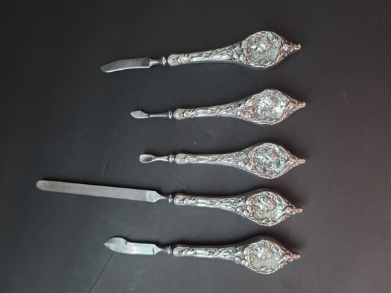 5 Piece Antique Sterling Silver Victorian Nail Care Set