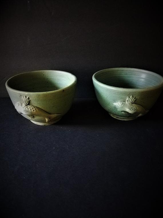 Antique Stoneware Japanese Tea Cups