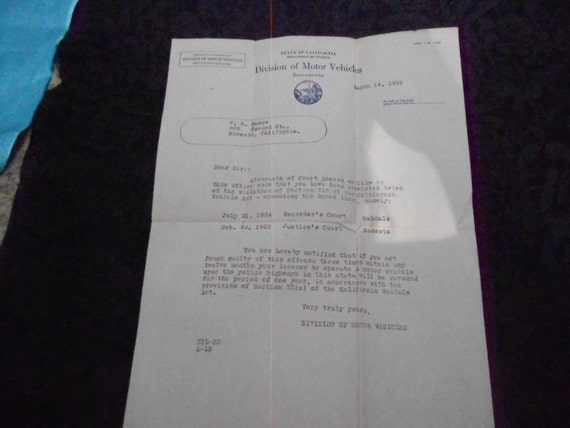 1925 Letter from DMV CA