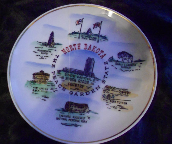 North Dakota Souvenir Plate