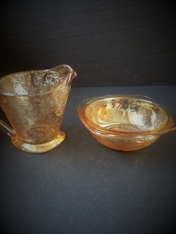 Floragold Jeanette Glass Creamer and Sugar Bowl