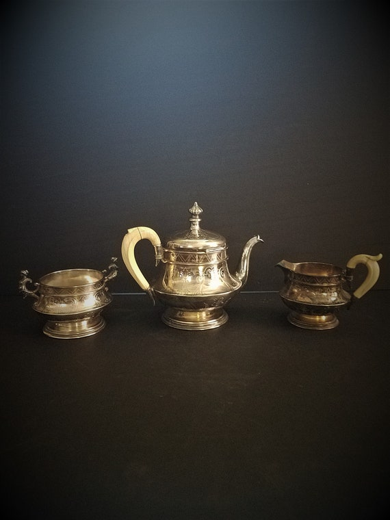 Early 1800s Teapot with Sugar and Creamer