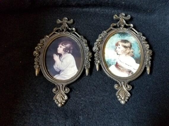 Italian Brass Frames with Girl Portraits