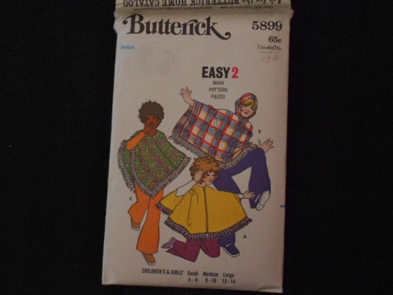 1960s Butterick Girls Poncho Pattern
