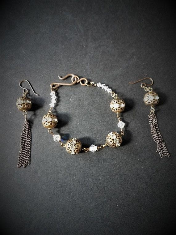 Brass & Crystal Bracelet and Earrings