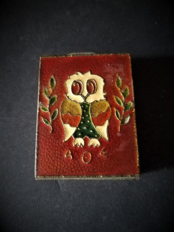 Vintage AOE Metal Enameled Match Book Holder