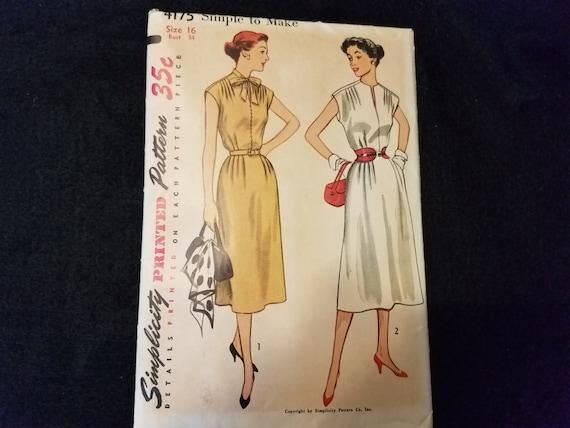 Simplicity 4175 1950s Dress Pattern