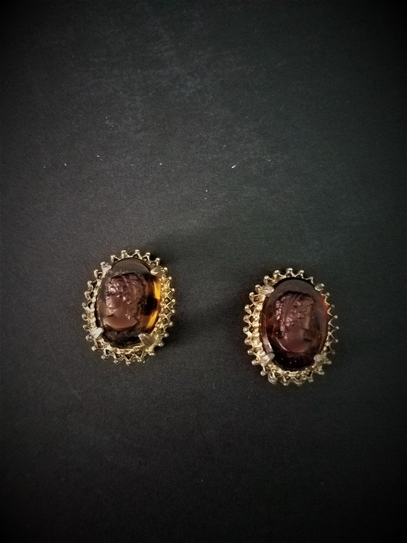 Vintage Florenza Co Tortoise Shell Cameo Earrings