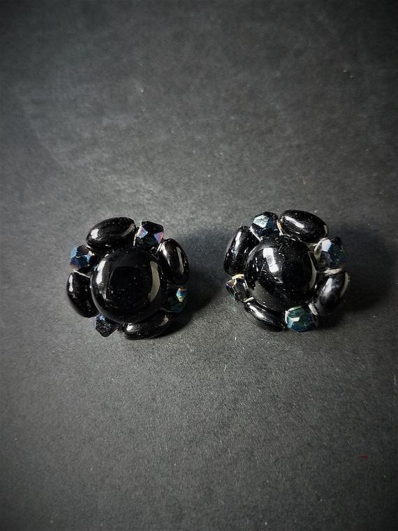 Vintage Glass Black Clip Ons