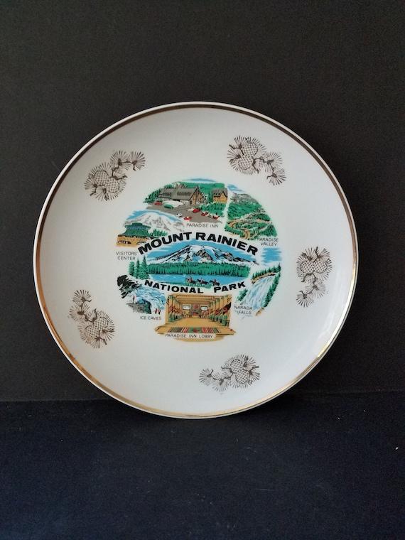 50s Mt Rainier National Park Souvenir Plate
