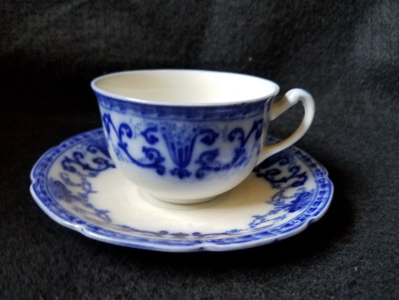 1914 Grindley Denton Flow Blue Cup & Saucer