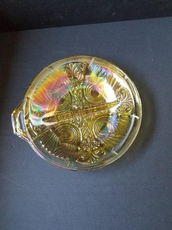 Yellow Carnival Glass Splet Serving Bowl
