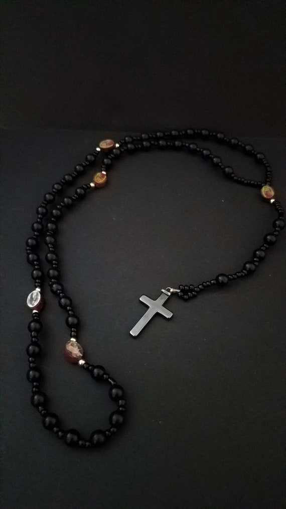 Vintage Rosary with Glass Beads, Hematite Cross and Wood Spacers