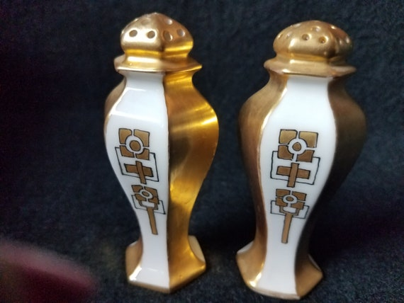 Lenox Belleek Art Deco Gilded Salt and Pepper