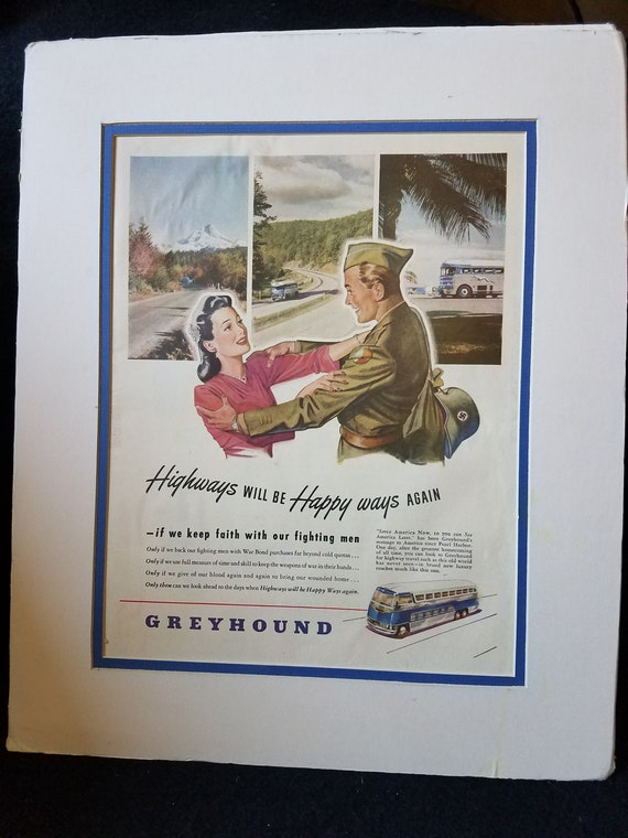 1940s Matted Greyhound Bus Ad