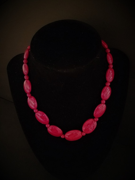 Red Glass Bead Vintage Necklace