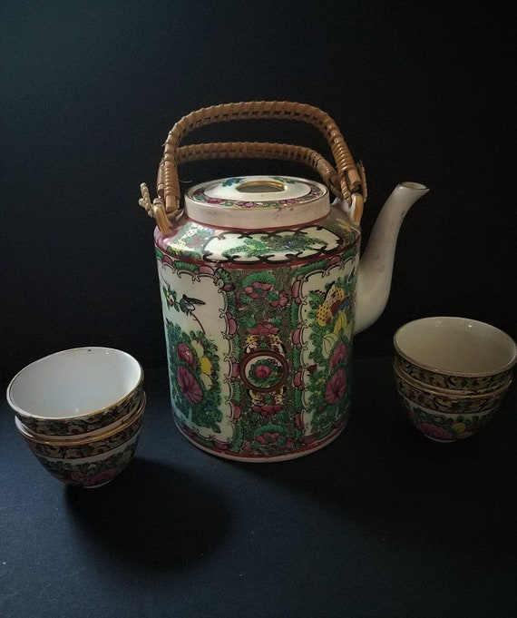 1960s Hong Kong Tea Pot with Four cups