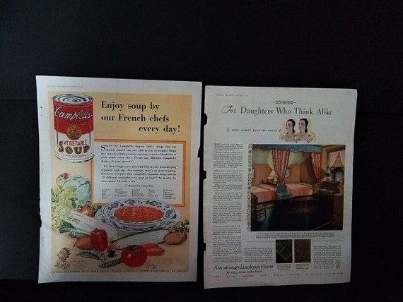 1930 Campbell's Soup and Armstrong Floor Ads