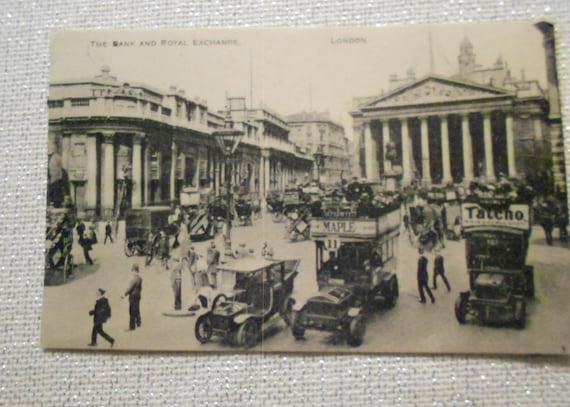 Postcard of London Bank and Royal Exchange