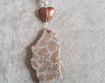 Chain Coral, Copper Heart, necklace